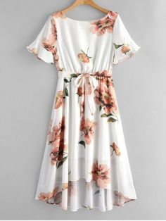 Flower Print Belted High Low Dress - White L Trendy Dresses, Simple Dresses, Cute Dresses, Beautiful Dresses, Casual Dresses, Midi Dresses, Floral Dress Outfits, Spring Dresses, Girls Fashion Clothes