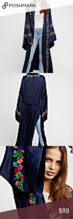 Free People The Exclusive Floral Embroidered Robe The stunning kimono of the season featuring a femme fabrication with an effortless, long silhouette and beautiful floral embroidery.  Approximate Measurements for size x-small: Length: 50 in; Bust: 60 in; Sleeve Length: 19 in (shortest), 21 in (longest)  **As display model item and due to delicate nature of this fabric, this robe has a few imperfections. Mainly un-noticeable but contained to right sleeve and right shoulder. See photos. Item…
