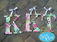 THREE Personalized Hanging Letters by mcleansa on Etsy, $36.00