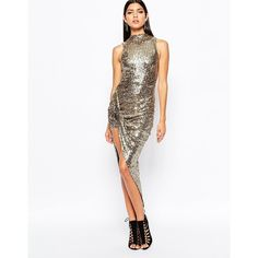 Club L Premium Sequin High Neck Ruched Side Dress (32 CAD) ❤ liked on Polyvore featuring dresses, gold, white cocktail dresses, bodycon cocktail dress, side ruched dress, white dress and white ruched dress
