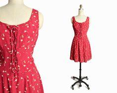 Vintage 90s Red Floral Sundress / 90s by twigandspokevintage