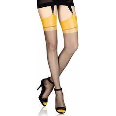 Cervin Capri Bicolore non-stretch RHT stockings ❤ liked on Polyvore