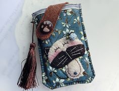 Jasmine Cat Mobile Phone Pouch from Lily's Handmade - Desire 2 Handmade Gifts, Bags, Charms, Pouches, Cases, Purses by DaWanda.com