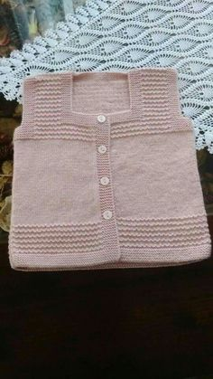 Discover thousands of images about Hand knit baby vest /cardigan / with Teddy.Unisex baby by AnaSwetThis Pin was discovered by HUZ Crochet Baby Jacket, Knitted Baby Cardigan, Knit Baby Sweaters, Girls Sweaters, Baby Knitting Patterns, Knitting Designs, Easy Knitting, Knitting For Kids, Baby Boy Jackets