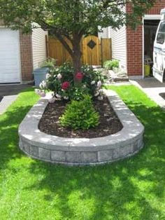 Front Yard Garden Design Raised Flower Bed- I want to do this around our front tree since it's branches… Raised Flower Beds, Raised Garden Beds, Raised Beds, Patio Pergola, Front Yard Landscaping, Landscaping Ideas, Mulch Landscaping, Landscaping Software, House Front