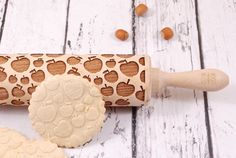 APPLE PIE - embossed, engraved rolling pin for cookies