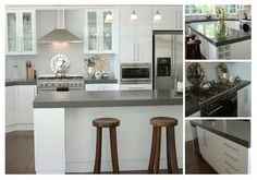 Love the combination of timber floors, white kitchen with a splash of grey in the benchtop. Caesarstone Urban?