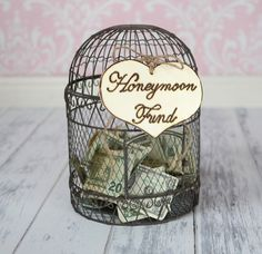 """Items similar to Large Rustic Wedding """"Honeymoon Fund"""" Sign for Your Rustic, Country, Shabby Chic Wedding, Bridal Shower, or Bachelor/Bachelorette Party on Etsy Chic Bridal Showers, Bridal Shower Cards, Bridal Shower Rustic, Bridal Shower Decorations, Rustic Wedding Signs, Chic Wedding, Wedding Ideas, Trendy Wedding, Wedding Shot"""