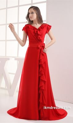 http://www.ikmdresses.com/Beautiful-A-Line-Brush-Sweep-Train-V-neck-Bow-s-Formal-Evening-Dress-p20339