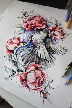 Blommor Tattoo Ideas, Tattoo Designs, Shoulder Tats, Disney Artwork, Bird Design, Life Tattoos, Drawing Reference, Love Heart Tattoo, Watercolor Tattoo