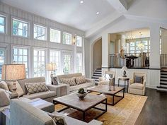 Large Open Floor Plan White Living Room Traditional Decor Neutral Colors  Two Story Windows; Timeless Modern Elegance Is My Description Of This Home  Decor  I ...