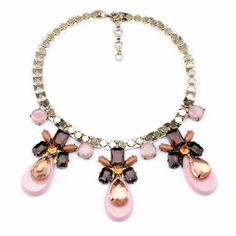 Statement Alloy Necklace With Light Pink Pendant