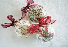 decoupaged ornaments