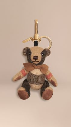 Thomas Bear Charm in Check Cashmere Camel | Burberry