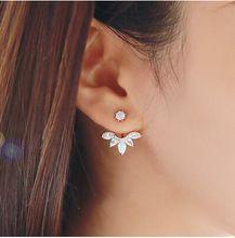 Aliexpress Sıcak Satış Trendy Popüler Temizle Kristal Rhinestone Çiçek Saplama Küpe Şekilli Çift Taraflı Küpe(China (Mainland))