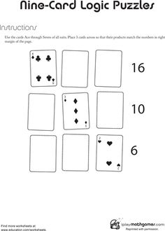 First Grade Math Worksheets: Nine Card Logic Puzzle Math Puzzles Brain Teasers, Math Logic Puzzles, Brain Teasers For Kids, Sudoku Puzzles, Math Worksheets, Fun Math, Math Games, Team Activities, Puzzle Games