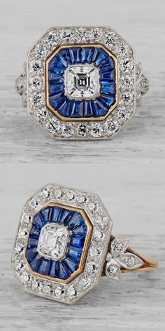 - An Art Deco gold, platinum, diamond and sapphire ring, circa Centring upon an Asscher-cut diamond with a baguette-cut sapphire surround and a halo of 20 old European-cut diamonds. Signed Tiffany & Co. Art Deco Diamond, Art Deco Ring, Art Deco Jewelry, Vintage Jewelry, Fine Jewelry, Vintage Brooches, Vintage Rings, Sapphire Jewelry, Diamond Jewelry