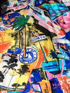 80s Mens MIAMI VICE Silk Shirt Vintage Don Johnson Florida style beach print…