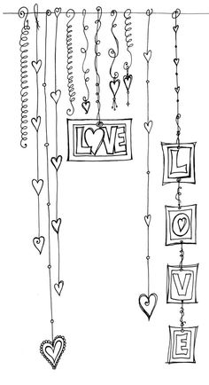 Great Doodle Ideas to incorporate into scrapbooking or card making - Love Dangles, doodle, zenspirations #Zentangle Patterns #Valentine Day