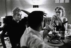 Marilyn Monroe, Simone Signoret, Yves Montand at the Beverly Hills Hotel for Let's Make Love, by Bruce Davidson, January / February 1960