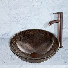 Pazo Copper Shield Glass Vessel Sink and Seville Faucet Set