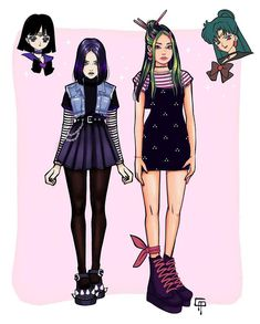 Sailor Neptune, Sailor Uranus, Sailor Moon Art, Cartoon Drawings, Cartoon Art, Drawing Anime Clothes, Sailor Scouts, Anime Outfits, Manga