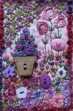 Stitching & Buttons Garden by KonnyKards - Inspired by the faces flowers in a 'point de croix' magazine. Lots of Bullion Knots. Stitching done with threads, ribbons, buttons, & textured wool on the border.