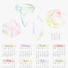 gemstone printable calendar 2015