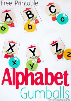 FREE Alphabet Gumballs This is such a cute free printable activity to help toddler preschool and kindergarten age kids practice identifying upper and lower case letters. Kindergarten Age, Preschool Literacy, Preschool Letters, Preschool Printables, Learning Letters, Literacy Activities, Toddler Preschool, Kindergarten Worksheets, Teaching Resources