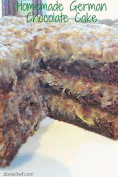 Bakers German Chocolate Cake, Homemade German Chocolate Cake, Chocolate Cake From Scratch, Famous Chocolate, Chocolate Frosting Recipes, Easy Desserts, Delicious Desserts, Dessert Recipes, Soup Recipes