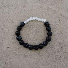 White Dwarf Bracelet / White Cat's Eye Gem /  Onyx by saltrabbit