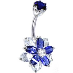 Sterling Silver 925 Sapphire Blue Cubic Zirconia Alluring Flower Belly Ring | Body Candy Body Jewelry #bodycandy #piercings #bellyring