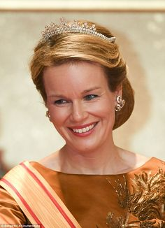 Queen Mathilde of Belgium looked resplendent as she attended a Japanese state dinner in To...
