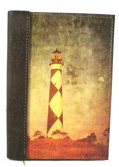 "Leather Lighthouse Journal - Amazing Leather Products - Leather Lighthouse Journal / Leather Lighthouse Diary / Leather Lighthouse Notebook, Genuine Full Grain, Saddlery Leather, 5"" X 7"" Size, NC's Cape Lookout Image on the Cover - Record Your Experiences of the Lighthouses that you visit - Refillable Kraft Lined Paper Insert  - 120  pages of lined paper front and back - Ribboned page keeper inside the journal"