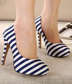 Navy stripes heels