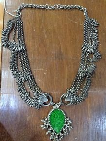 antique tribal old silver choker necklace ethnic silver jewelry with green glass stone pendant