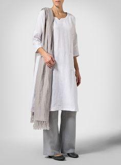 White Linen Half-sleeve Monk Dress Set
