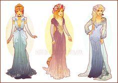 Art Nouveau redesign of Cinderella, Rapunzel, and Elsa.