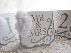 "Wedding Table Numbers - ""Flourish"" in Grey / Gray and White w/ White Chiffon Accents - Choose Your Colors"