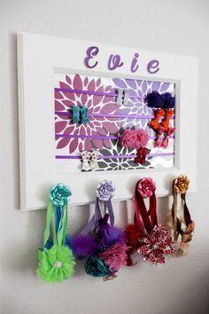 Little girl hair accessories organizer.  It's a piece of art, headband holder and hair clip holder. #hairaccessories #hairorganizer