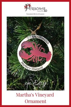 Beautiful hand cut and hand crafted Martha's Vineyard Ornaments make perfect gifts for anyone who loves the Vineyard! Available in two styles: Island and Lobster. Click now to see more great custom wood ornaments for your Christmas decor! #christmasorname