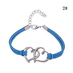 Double+Heart+Pattern+Leather+Alloy+Charm+Bracelet+–+USD+$+0.99