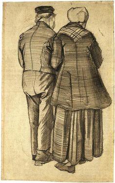 Vincent van Gogh Hombre y mujer vistos desde atrás Drawing
