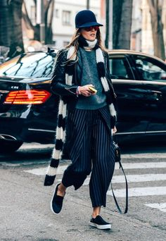 Fall winter inspiration | Streetstyle | Fashion Week | Stripes | Culottes | Cropped pants | Cap | Leather jacket | Black | Slip-ons | More on Fashionchick