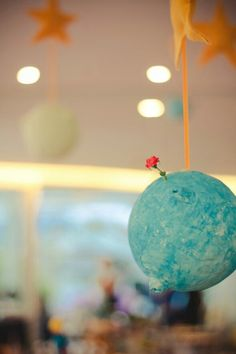 Planets hanging from stars Prince Birthday Party, First Birthday Parties, First Birthdays, Little Prince Party, The Little Prince, Baby Shower Parties, Baby Boy Shower, The Petit Prince, Prince Nursery