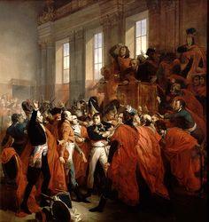 """Le coup d'Etat du 18 Brumaire - """"Le général Bonaparte au Conseil des Cinq-Cents, à Saint Cloud"""". (1799, François BOUCHOT)"""