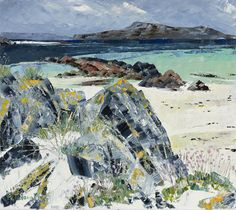 Frances Macdonald,  The Burgh from the White Strand of the Monks, Iona.  Passing Islands - The Scottish Gallery, Edinburgh - Contemporary Art Since 1842
