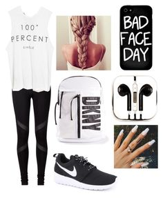"""""""Bad Face Day"""" by aminataremy ❤ liked on Polyvore featuring NIKE, The Laundry Room, DKNY, Local Heroes and PhunkeeTree"""