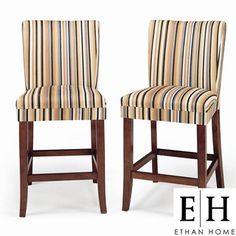 @Overstock - ETHAN HOME Parson Striped Upholstered Pub Stool (Set of 2) - Chairs also showcase an up-to-date stripe pattern on polyester fabricParson pub chairs constructed of solid rubber woodUpholstered chairs feature spring cushion seat, making them as nice to sit on as they are to look at    http://www.overstock.com/Home-Garden/ETHAN-HOME-Parson-Striped-Upholstered-Pub-Stool-Set-of-2/3912576/product.html?CID=214117  $159.99