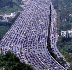 The longest traffic jam in the world recorded in China. Its length is 260 kilometers and it lasted about 10 days.  And you thought L.A. traffic was bad.